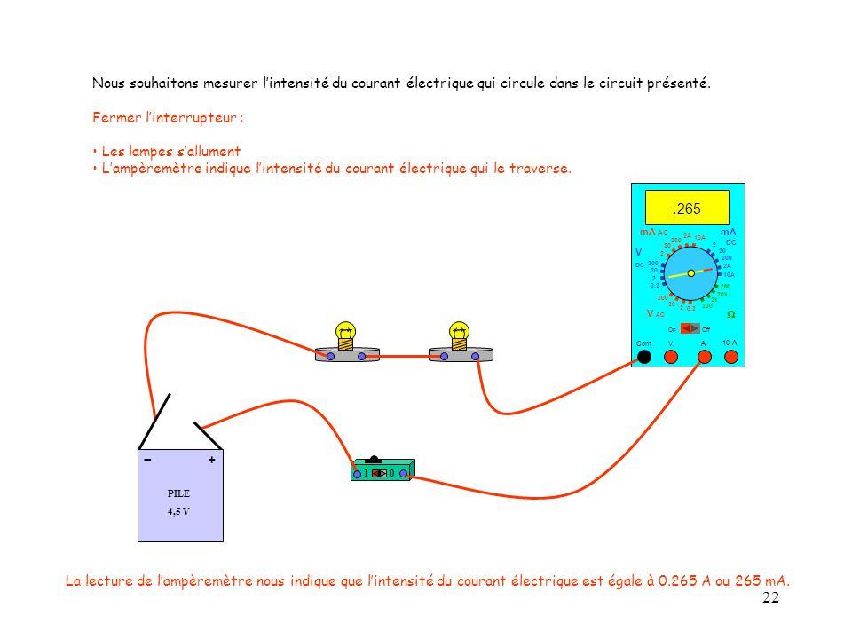 22 10 A. 265 Com mA DC A OffOn 10A 2A 200 20 V  2 V AC mA AC V DC 2M 20k 2k 200 0.2 2 200 20 2 0.2 2 20 200 Nous souhaitons mesurer l'intensité du co