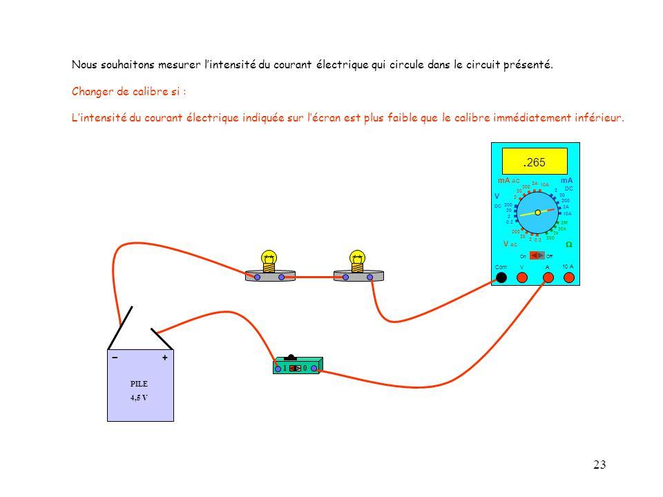 23 10 A. 265 Com mA DC A OffOn 10A 2A 200 20 V  2 V AC mA AC V DC 2M 20k 2k 200 0.2 2 200 20 2 0.2 2 20 200 Nous souhaitons mesurer l'intensité du co