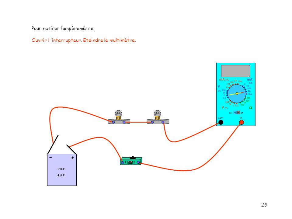 25 Com mA DC A OffOn 10A 2A 200 20  2 V AC mA AC V DC 2M 20k 2k 200 0.2 2 200 20 2 0.2 2 20 200 Pour retirer l'ampèremètre Ouvrir l 'interrupteur. Et