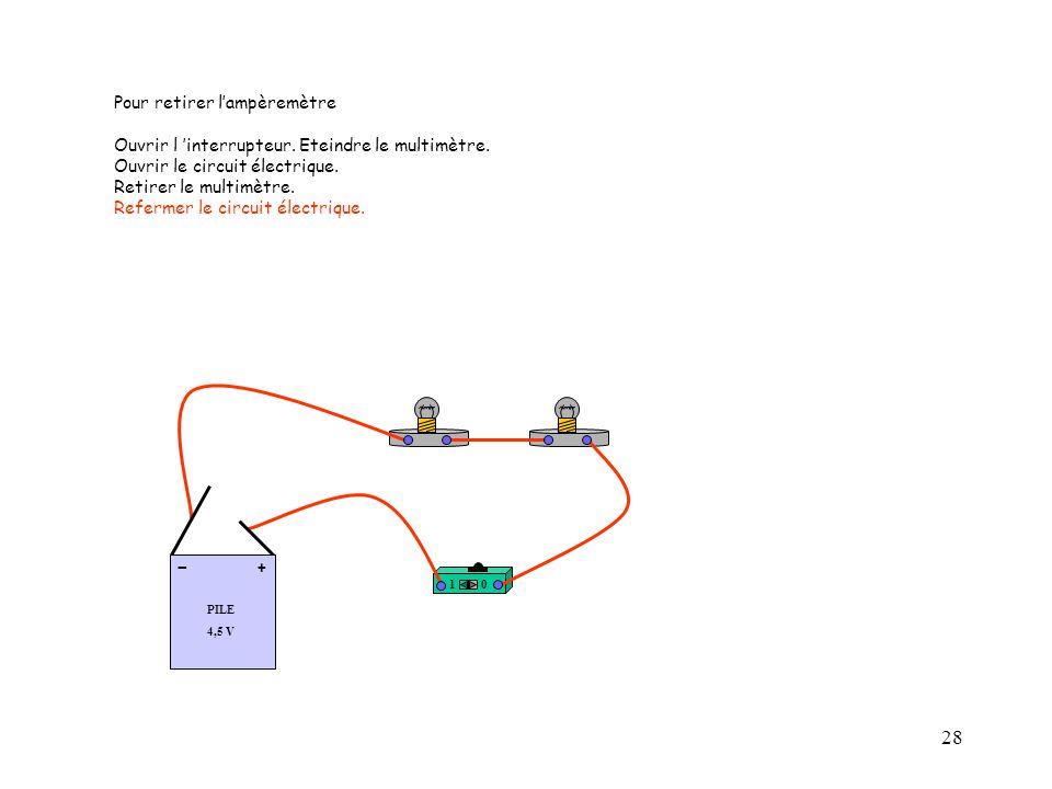28 10 PILE 4,5 V + - Pour retirer l'ampèremètre Ouvrir l 'interrupteur. Eteindre le multimètre. Ouvrir le circuit électrique. Retirer le multimètre. R