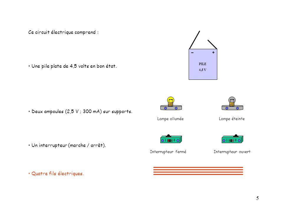 5 Ce circuit électrique comprend : Une pile plate de 4,5 volts en bon état. Deux ampoules (2,5 V ; 300 mA) sur supports. Un interrupteur (marche / arr