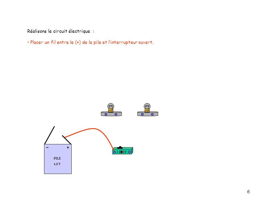 6 10 PILE 4,5 V + - Réalisons le circuit électrique : Placer un fil entre le (+) de la pile et l'interrupteur ouvert.
