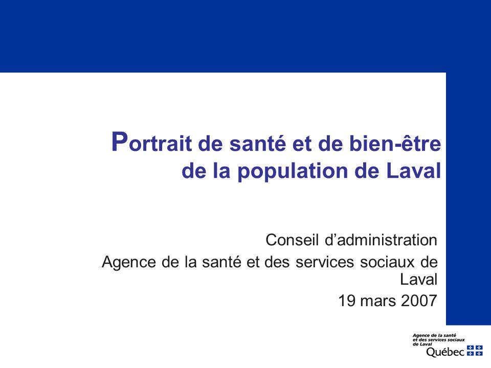 P ortrait de santé et de bien-être de la population de Laval Conseil d'administration Agence de la santé et des services sociaux de Laval 19 mars 2007