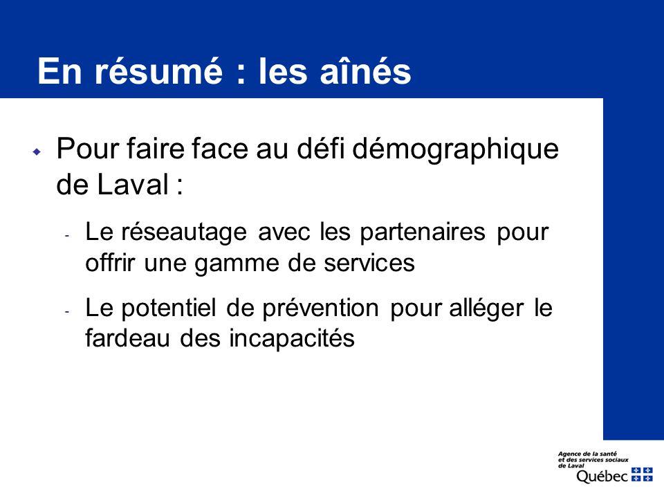  Pour faire face au défi démographique de Laval : ‐ Le réseautage avec les partenaires pour offrir une gamme de services ‐ Le potentiel de prévention pour alléger le fardeau des incapacités En résumé : les aînés