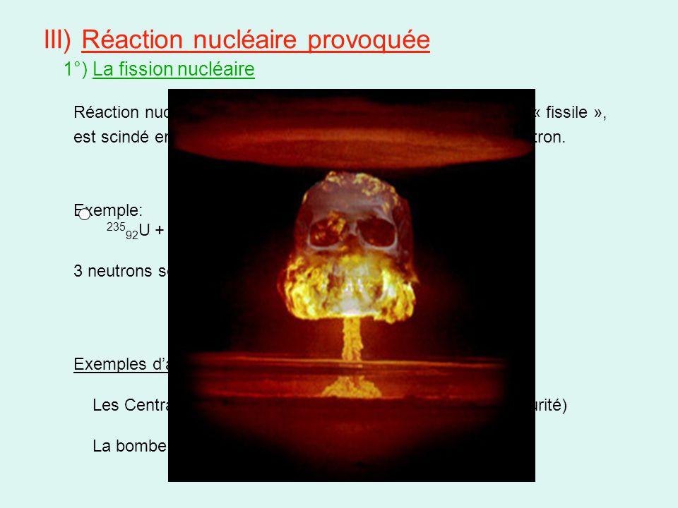 III) Réaction nucléaire provoquée 1°) La fission nucléaire Réaction nucléaire au cours de laquelle un noyau lourd, dit « fissile », est scindé en deux