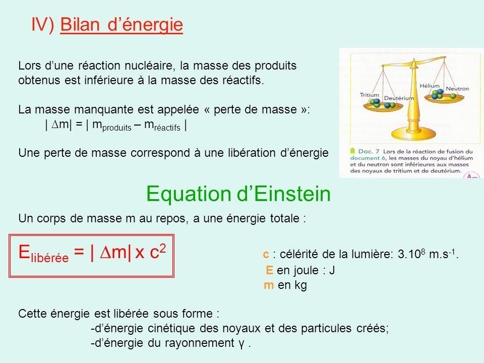 IV) Bilan d'énergie Lors d'une réaction nucléaire, la masse des produits obtenus est inférieure à la masse des réactifs. La masse manquante est appelé