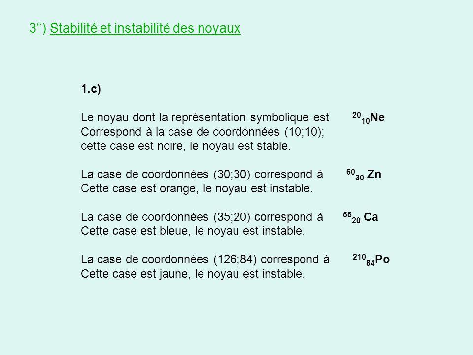 1.c) Le noyau dont la représentation symbolique est 20 10 Ne Correspond à la case de coordonnées (10;10); cette case est noire, le noyau est stable. L