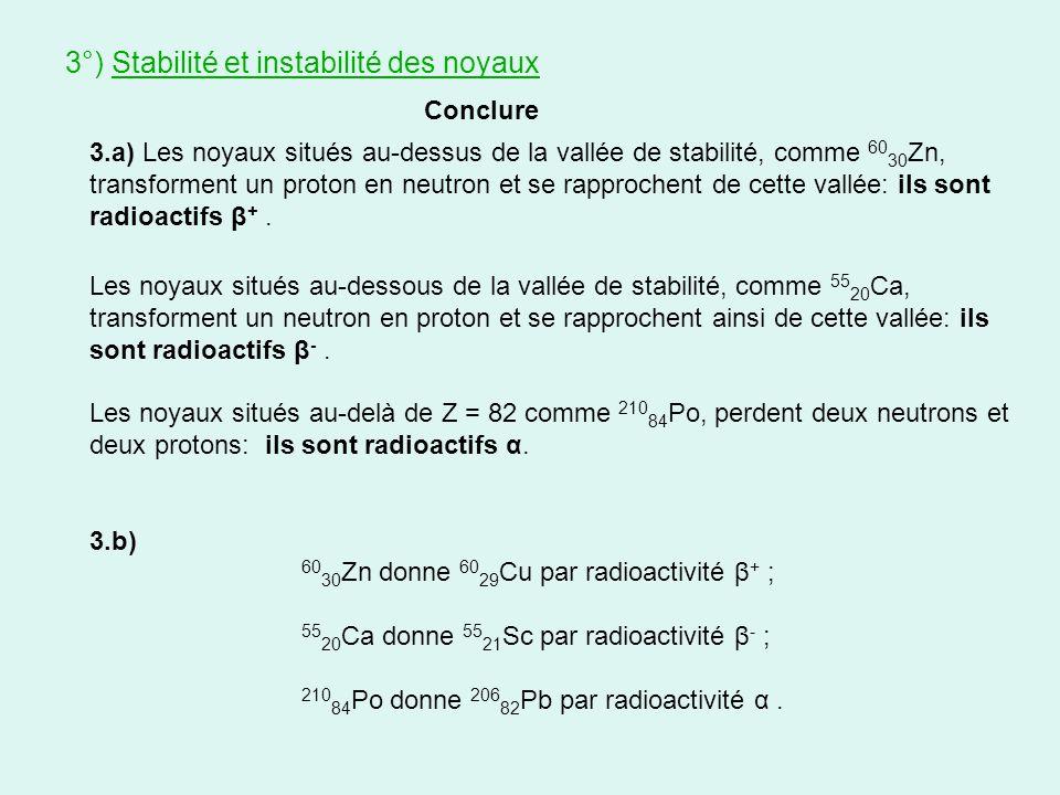 Conclure 3°) Stabilité et instabilité des noyaux 3.a) Les noyaux situés au-dessus de la vallée de stabilité, comme 60 30 Zn, transforment un proton en