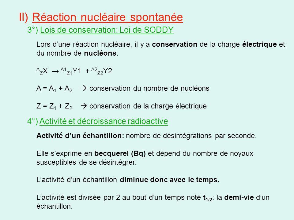 II) Réaction nucléaire spontanée 5°) Différents types de désintégration a) Radioactivité α noyau instable en raison d'un excédent de nucléons Émission d'un noyau d'hélium: 4 2 He encore appelé particule α Général: A Z X → A-4 Z-2 Y + 4 2 He Ex: 210 84 Po → 206 82 Pb + 4 2 He b) Radioactivité β - noyau instable en dessous de la vallée de stabilité (diagramme de Segré) Émission d'un électron : 0 -1 e Général: A Z X → A Z+1 Y + 0 -1 e L'interaction faible intervient dans la transformation d'un neutron en proton: 1 0 n → 1 +1 p + 0 -1 e Ex: 60 27 Co → 60 28 Ni + 0 -1 e