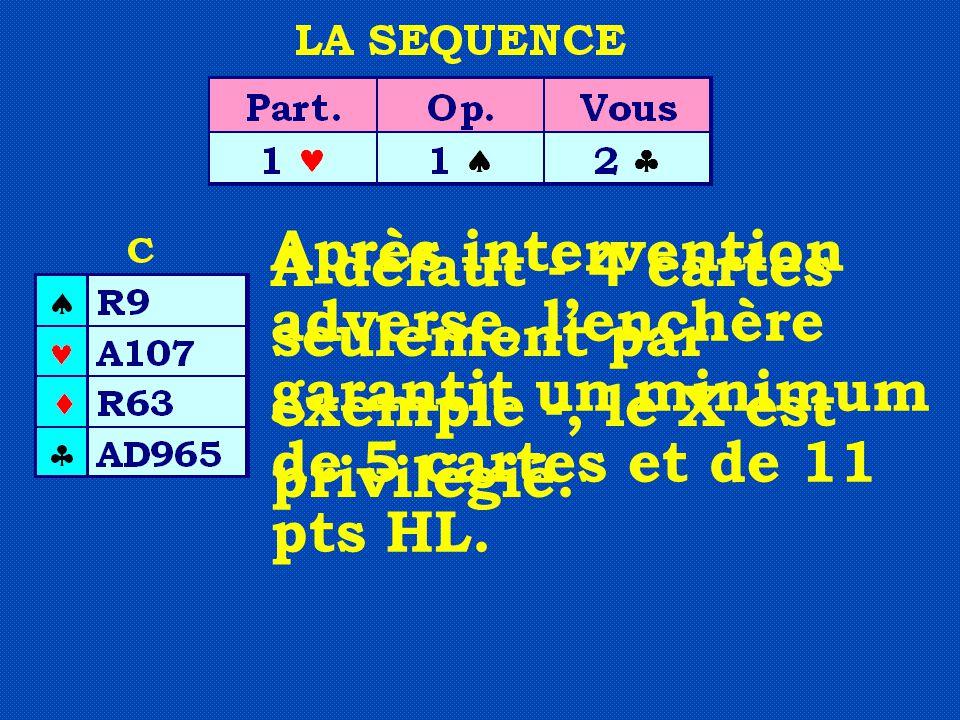 Après intervention adverse, l'enchère garantit un minimum de 5 cartes et de 11 pts HL. A défaut - 4 cartes seulement par exemple -, le X est privilégi
