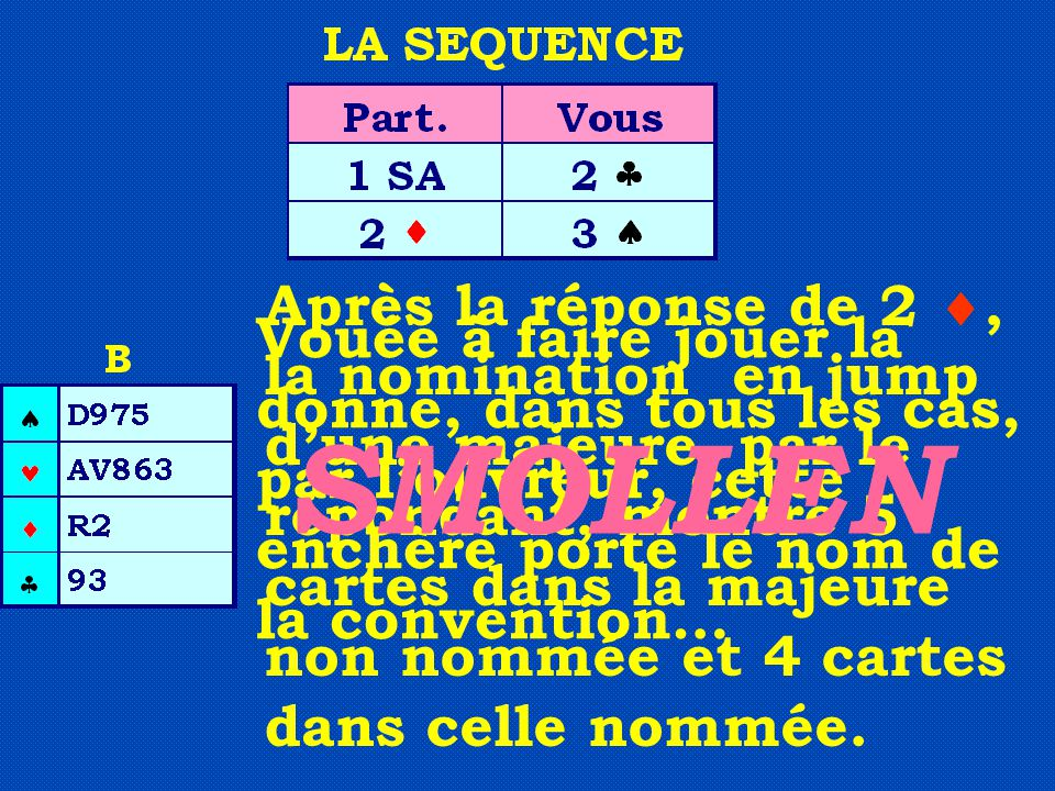 Après la réponse de 2 , la nomination en jump d'une majeure, par le répondant, montre 5 cartes dans la majeure non nommée et 4 cartes dans celle nomm