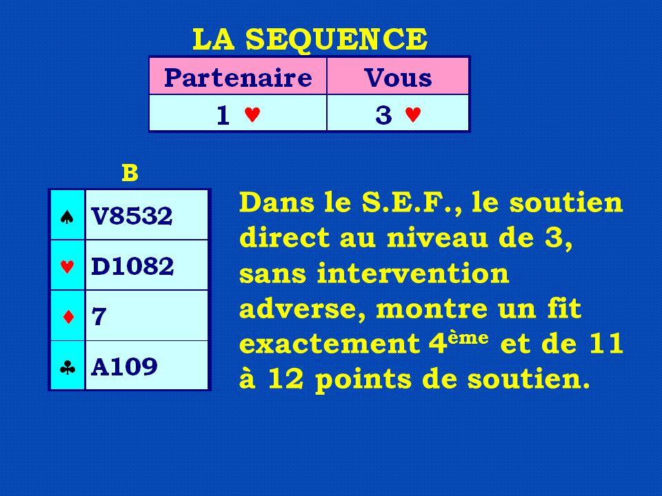 Dans le S.E.F., le soutien direct au niveau de 3, sans intervention adverse, montre un fit exactement 4 ème et de 11 à 12 points de soutien.