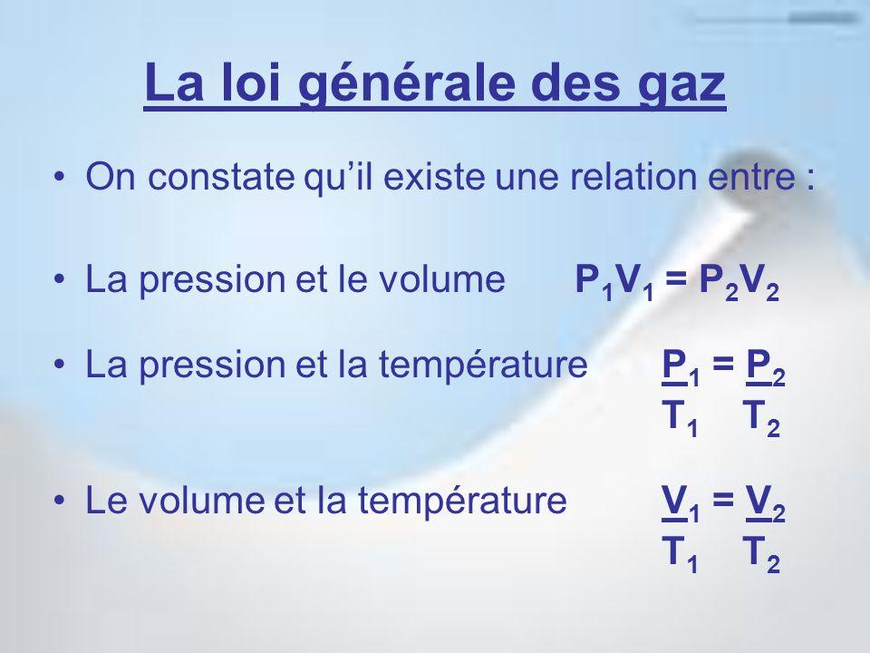 La loi générale des gaz On constate qu'il existe une relation entre : La pression et le volume P 1 V 1 = P 2 V 2 La pression et la température P 1 = P 2 T 1 T 2 Le volume et la température V 1 = V 2 T 1 T 2