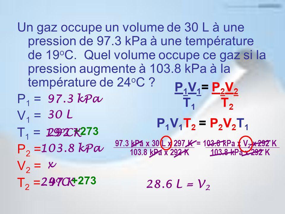 Un gaz occupe un volume de 30 L à une pression de 97.3 kPa à une température de 19 o C.