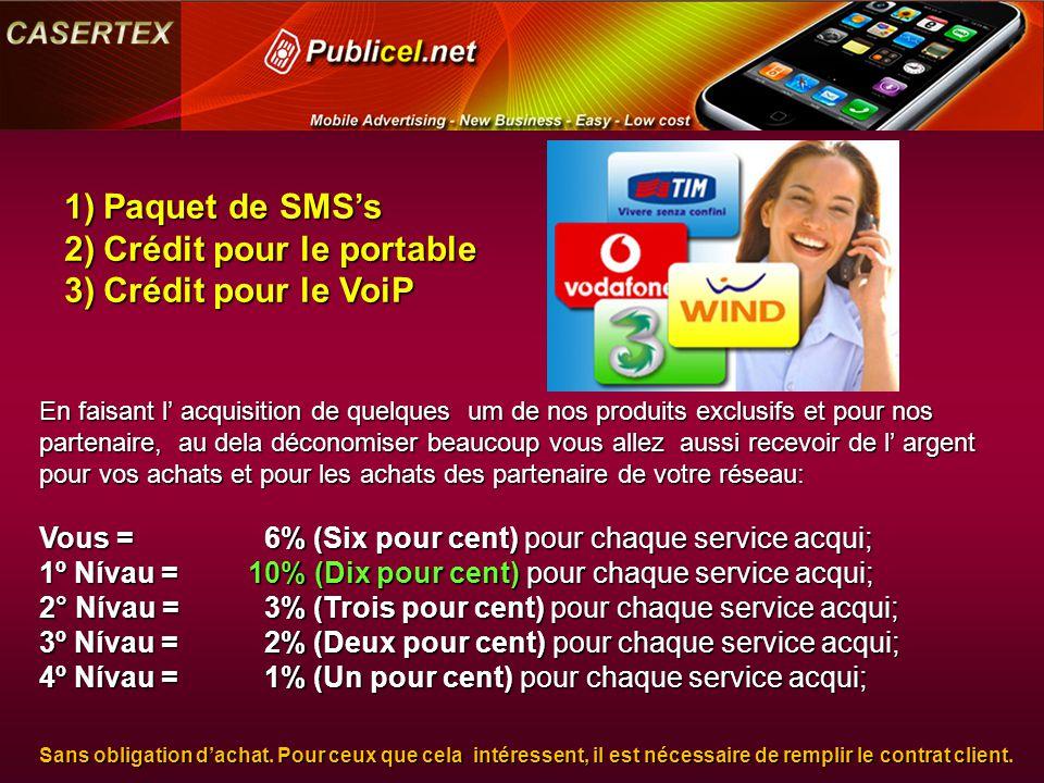 En faisant l' acquisition de quelques um de nos produits exclusifs et pour nos partenaire, au dela déconomiser beaucoup vous allez aussi recevoir de l' argent pour vos achats et pour les achats des partenaire de votre réseau: Vous = 6% (Six pour cent) pour chaque service acqui; 1º Nívau =10% (Dix pour cent) pour chaque service acqui; 2° Nívau = 3% (Trois pour cent) pour chaque service acqui; 3º Nívau = 2% (Deux pour cent) pour chaque service acqui; 4º Nívau = 1% (Un pour cent) pour chaque service acqui; Sans obligation d'achat.