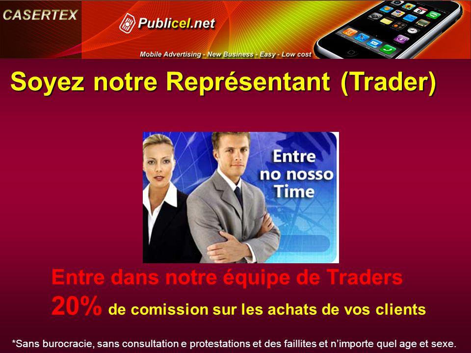 Soyez notre Représentant (Trader) Entre dans notre équipe de Traders 20% de comission sur les achats de vos clients *Sans burocracie, sans consultatio