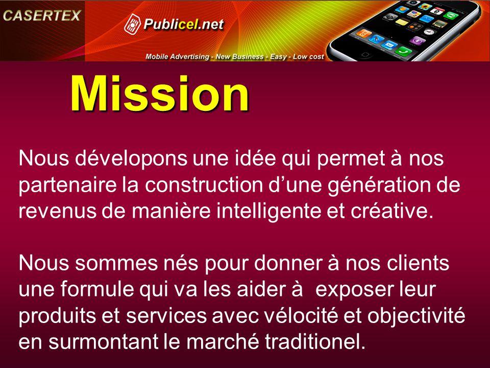 Mission Nous dévelopons une idée qui permet à nos partenaire la construction d'une génération de revenus de manière intelligente et créative. Nous som
