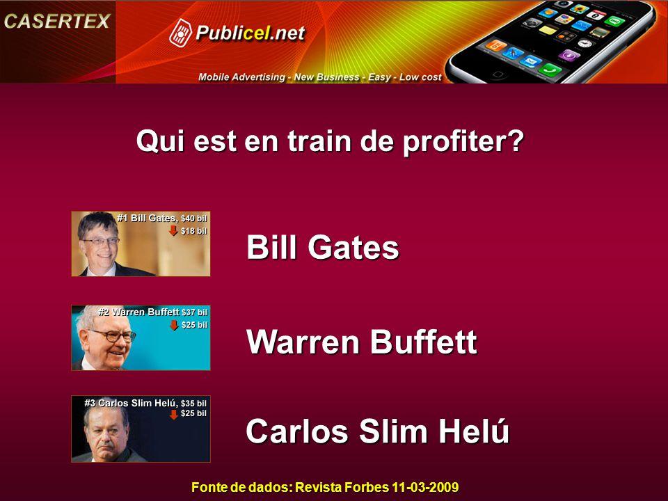 Qui est en train de profiter? Fonte de dados: Revista Forbes 11-03-2009 Bill Gates Warren Buffett Carlos Slim Helú