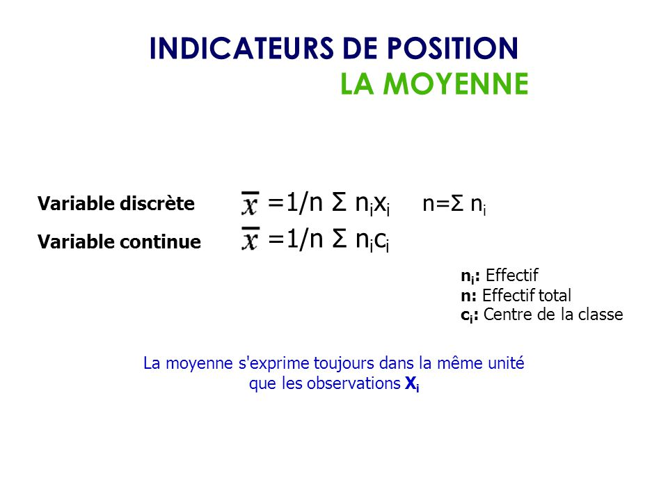 INDICATEURS DE POSITION LA MOYENNE n i : Effectif n: Effectif total c i : Centre de la classe =1/n Σ n i x i n=Σ n i Variable discrète Variable contin