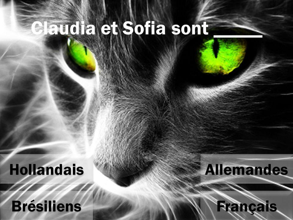 Claudia et Sofia sont _____ Allemandes Français Hollandais Brésiliens