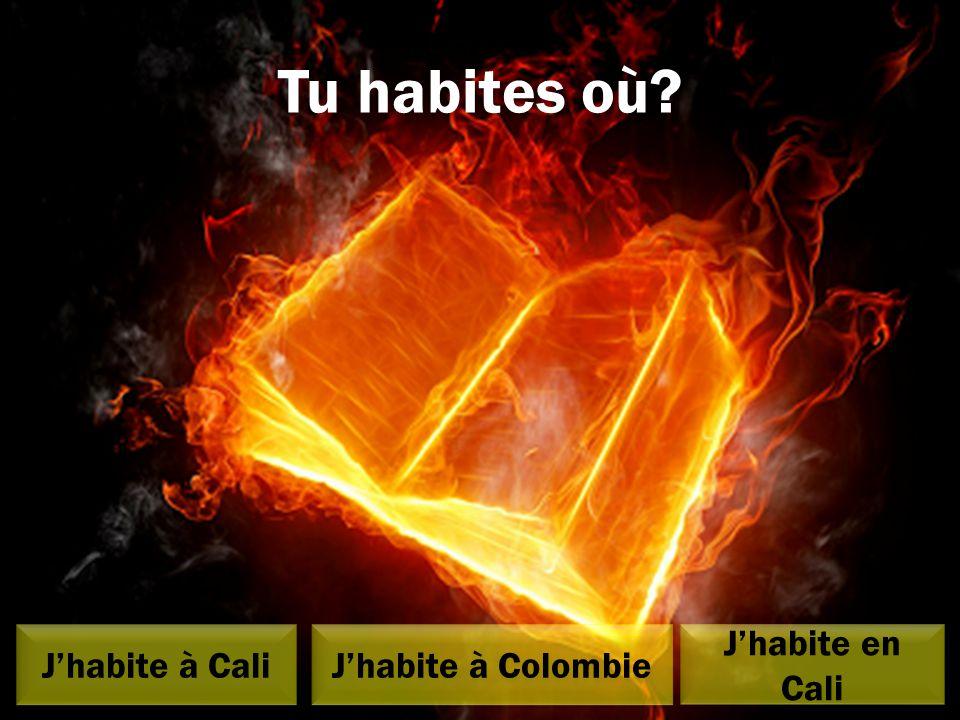 Tu habites où J'habite à Cali J'habite en Cali J'habite en Cali J'habite à Colombie