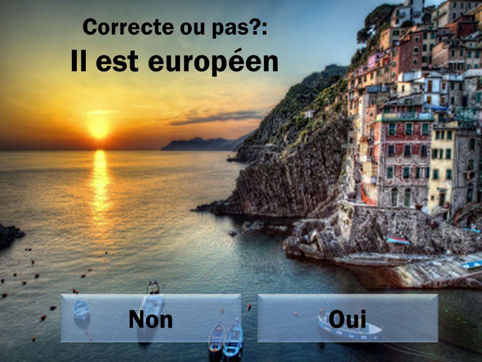 Correcte ou pas : Il est européen Oui Non