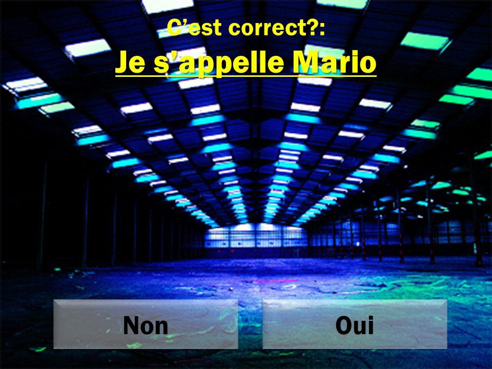 Je s'appelle Mario C'est correct : Je s'appelle Mario Non Oui