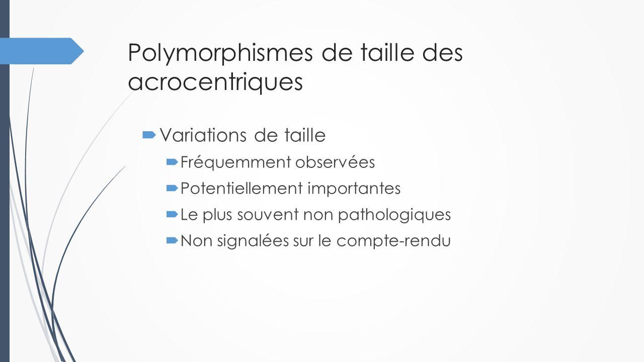 Polymorphismes de taille des acrocentriques  Variations de taille  Fréquemment observées  Potentiellement importantes  Le plus souvent non patholo
