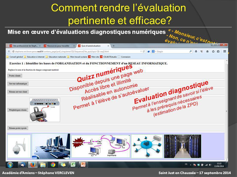 Saint Just en Chaussée – 17 septembre 2014Académie d'Amiens – Stéphane VERCLEVEN Mise en œuvre d'évaluations diagnostiques numériques « - Monsieur, c'