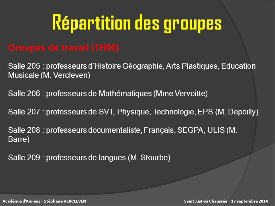 Saint Just en Chaussée – 17 septembre 2014Académie d'Amiens – Stéphane VERCLEVEN Répartition des groupes Salle 205 : professeurs d'Histoire Géographie