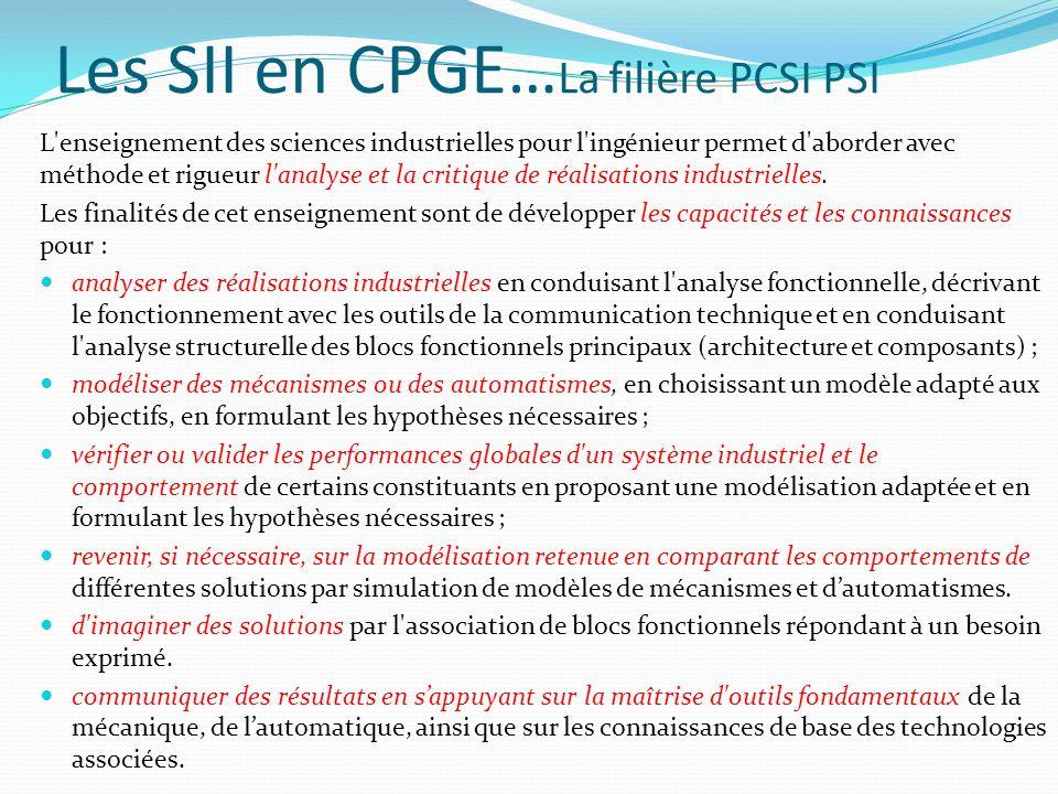 Les SII en CPGE… La filière PCSI PSI L enseignement des sciences industrielles pour l ingénieur permet d aborder avec méthode et rigueur l analyse et la critique de réalisations industrielles.