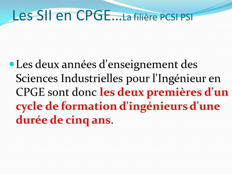 Les SII en CPGE… La filière PCSI PSI Les deux années d enseignement des Sciences Industrielles pour l Ingénieur en CPGE sont donc les deux premières d un cycle de formation d ingénieurs d une durée de cinq ans.
