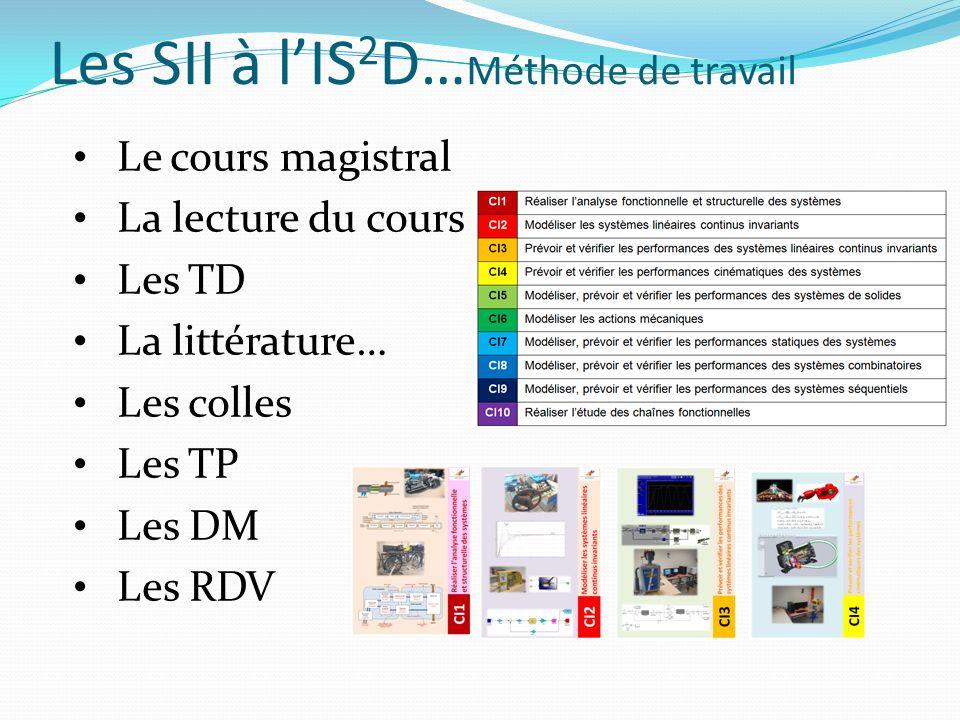 Les SII à l'IS 2 D… Méthode de travail Le cours magistral La lecture du cours Les TD La littérature… Les colles Les TP Les DM Les RDV