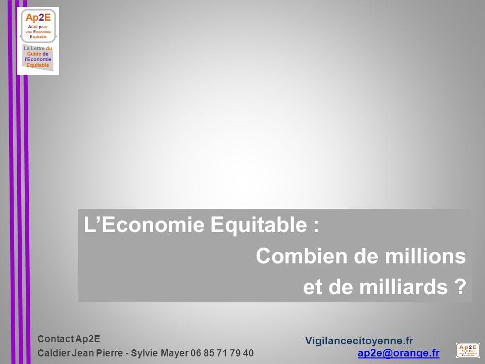Contact Ap2E Caldier Jean Pierre - Sylvie Mayer 06 85 71 79 40 ap2e@orange.fr ap2e@orange.fr Vigilancecitoyenne.fr L'Economie Equitable : Combien de millions et de milliards ?