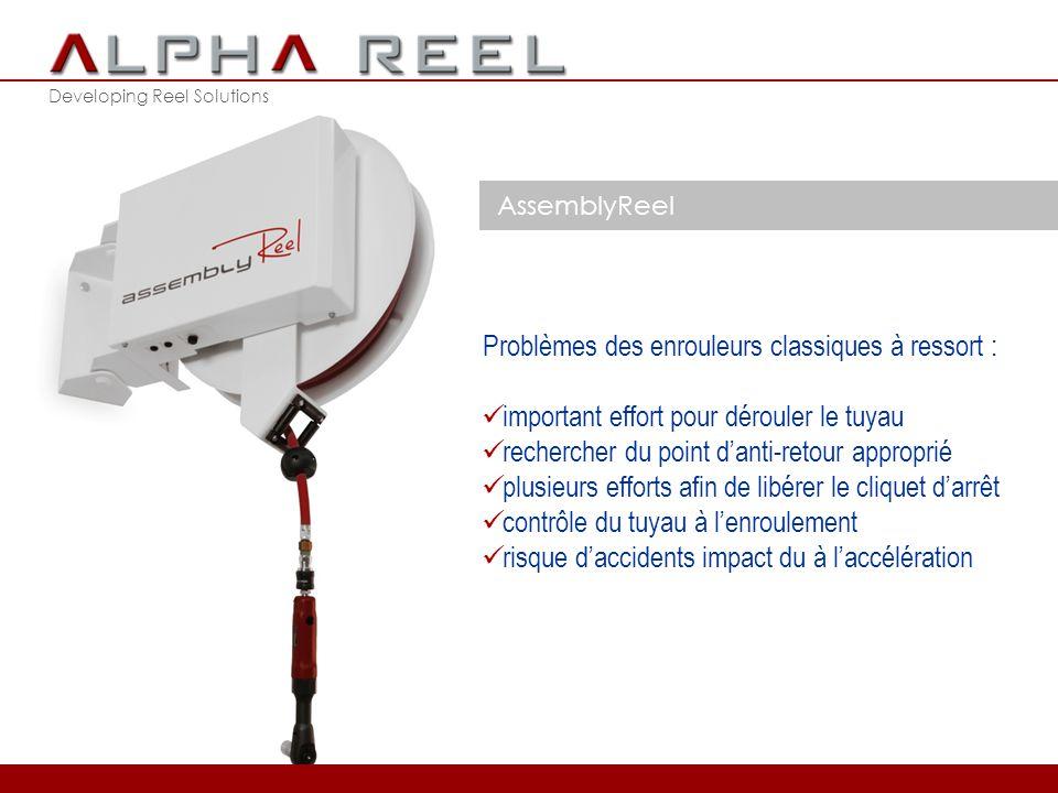 Developing Reel Solutions AssemblyReel l'enroulement motorisé utilise une nouvelle technologie brevetée troisième prix dans le concours ENTERPRIZE 2012 élimine les 5 problèmes des enrouleurs classiques à ressort 2012 © ALPHA REEL bvba