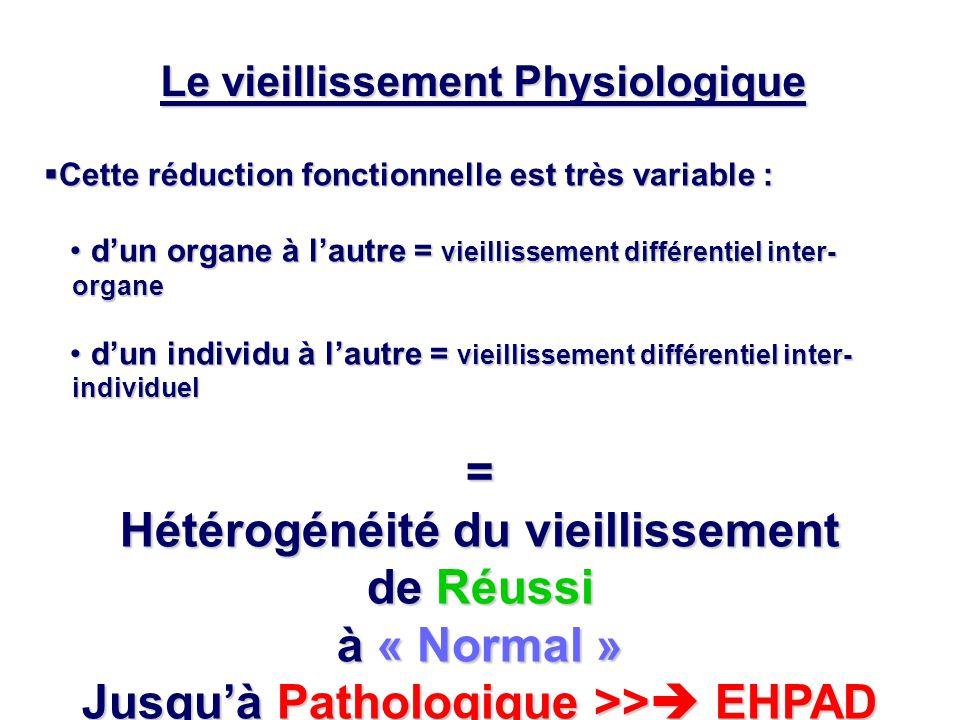 Le vieillissement Physiologique  Cette réduction fonctionnelle est très variable : d'un organe à l'autre = vieillissement différentiel inter- organe