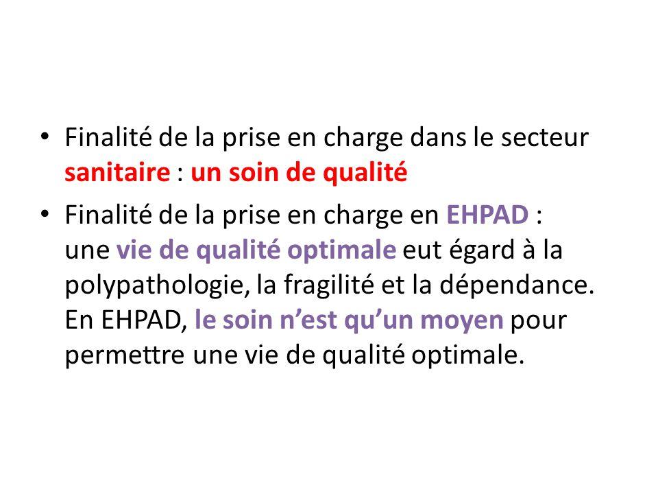 Finalité de la prise en charge dans le secteur sanitaire : un soin de qualité Finalité de la prise en charge en EHPAD : une vie de qualité optimale eu