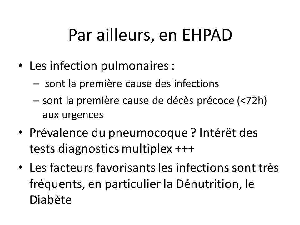 Par ailleurs, en EHPAD Les infection pulmonaires : – sont la première cause des infections – sont la première cause de décès précoce (<72h) aux urgenc