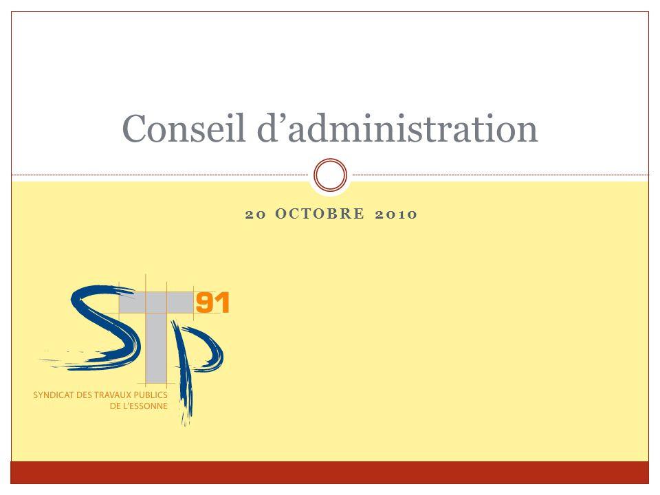 20 OCTOBRE 2010 Conseil d'administration