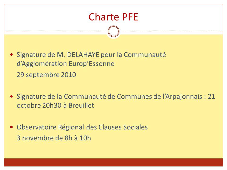 Charte PFE Signature de M. DELAHAYE pour la Communauté d'Agglomération Europ'Essonne 29 septembre 2010 Signature de la Communauté de Communes de l'Arp