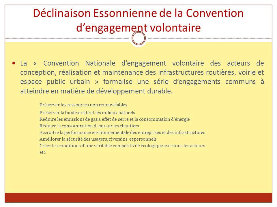 Déclinaison Essonnienne de la Convention d'engagement volontaire La « Convention Nationale d'engagement volontaire des acteurs de conception, réalisation et maintenance des infrastructures routières, voirie et espace public urbain » formalise une série d'engagements communs à atteindre en matière de développement durable.