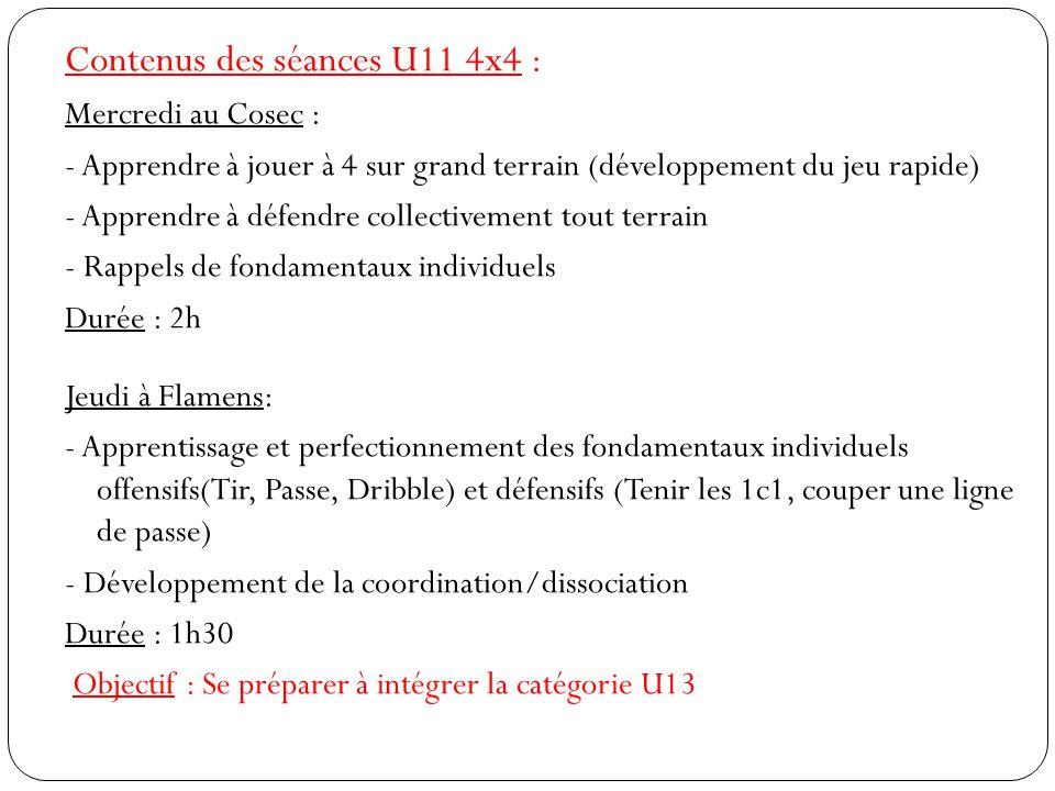 Contenus des séances U11 4x4 : Mercredi au Cosec : - Apprendre à jouer à 4 sur grand terrain (développement du jeu rapide) - Apprendre à défendre coll