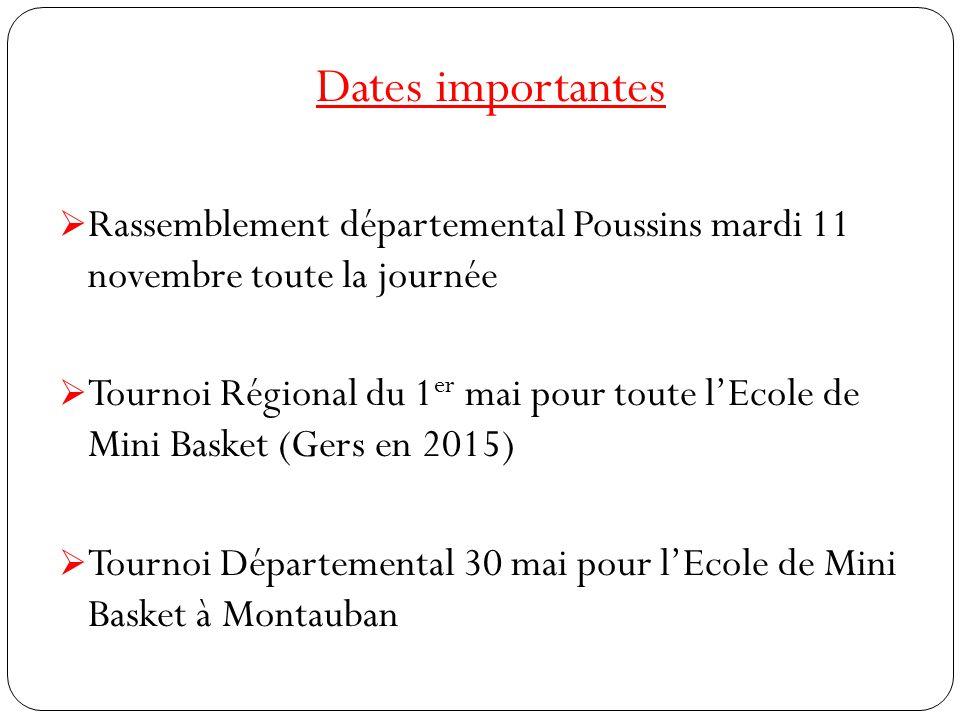 Dates importantes  Rassemblement départemental Poussins mardi 11 novembre toute la journée  Tournoi Régional du 1 er mai pour toute l'Ecole de Mini