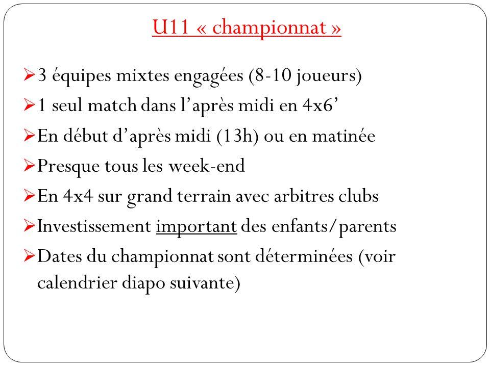 U11 « championnat »  3 équipes mixtes engagées (8-10 joueurs)  1 seul match dans l'après midi en 4x6'  En début d'après midi (13h) ou en matinée 