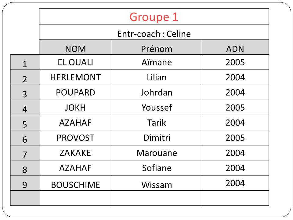 Groupe 1 Entr-coach : Celine NOMPrénomADN 1 EL OUALIAïmane2005 2 HERLEMONTLilian2004 3 POUPARDJohrdan2004 4 JOKHYoussef2005 5 AZAHAFTarik2004 6 PROVOS