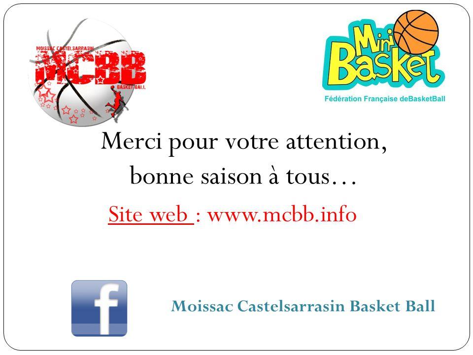 Merci pour votre attention, bonne saison à tous… Site web : www.mcbb.info Moissac Castelsarrasin Basket Ball