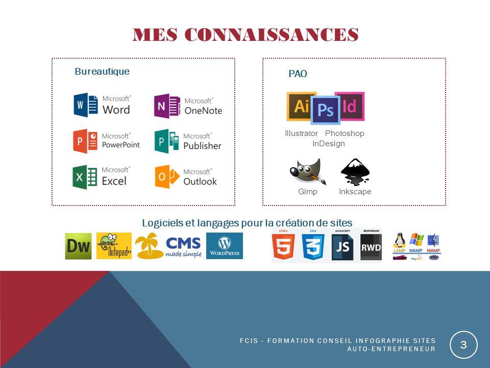 MES CONNAISSANCES Bureautique FCIS - FORMATION CONSEIL INFOGRAPHIE SITES AUTO-ENTREPRENEUR 3 PAO Logiciels et langages pour la création de sites Illustrator Photoshop InDesign Gimp Inkscape
