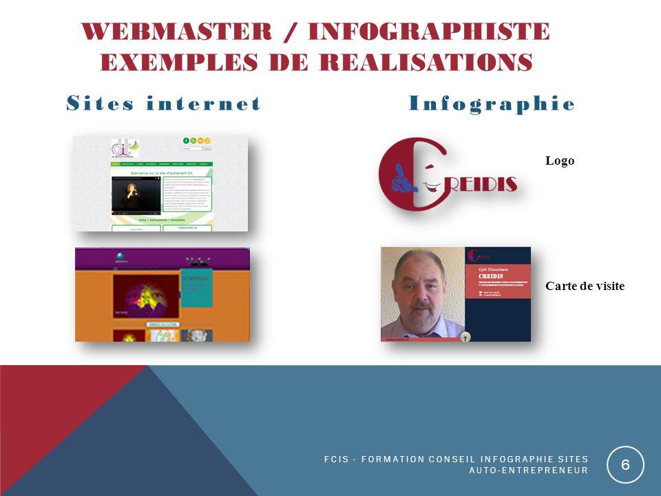 WEBMASTER / INFOGRAPHISTE EXEMPLES DE REALISATIONS Sites internetInfographie FCIS - FORMATION CONSEIL INFOGRAPHIE SITES AUTO-ENTREPRENEUR 6 Logo Carte de visite