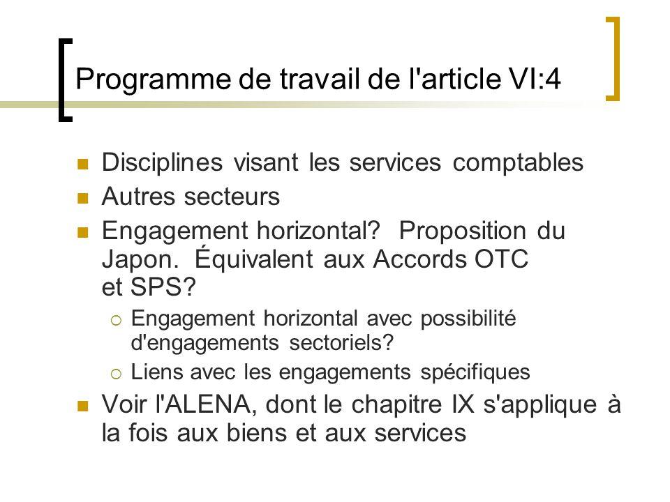 Programme de travail de l article VI:4 Disciplines visant les services comptables Autres secteurs Engagement horizontal.