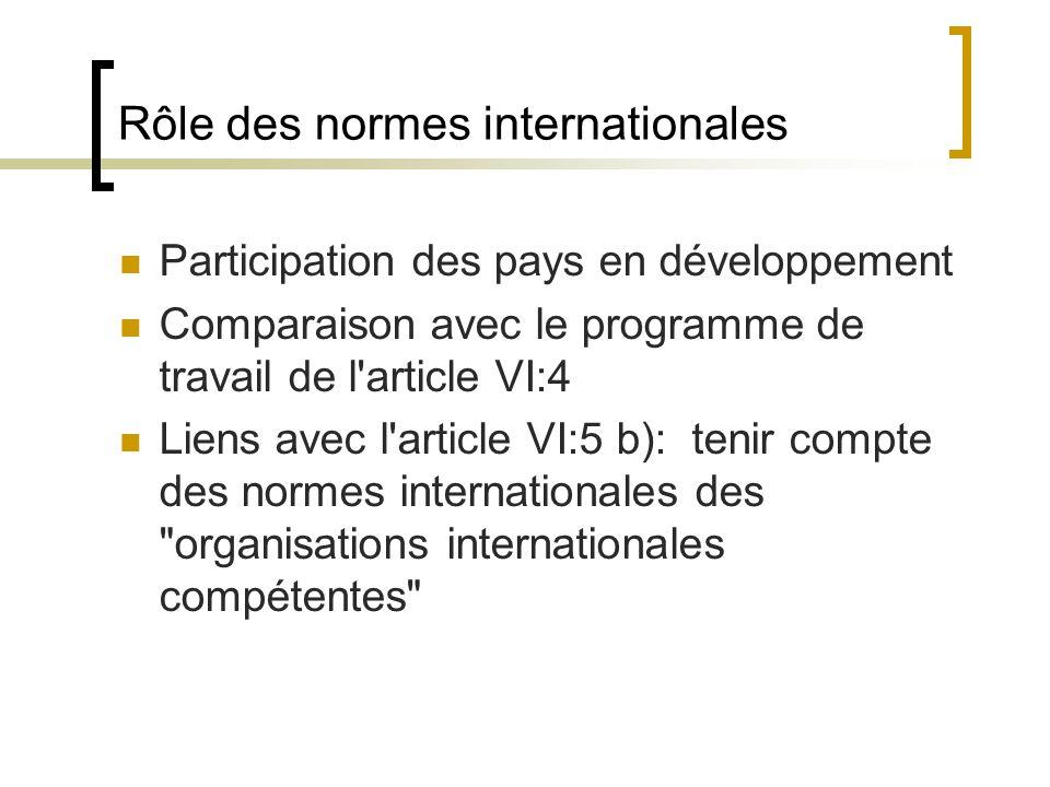 Rôle des normes internationales Participation des pays en développement Comparaison avec le programme de travail de l article VI:4 Liens avec l article VI:5 b): tenir compte des normes internationales des organisations internationales compétentes